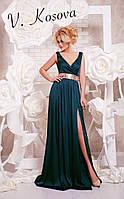 Элегантное платье в пол с открытой спинкой, пояс украшен пайетками материал шелк. Цвет изумрудный