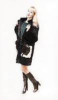 Женская шуба из кролика с накладными карманами из меха, Комби плюш