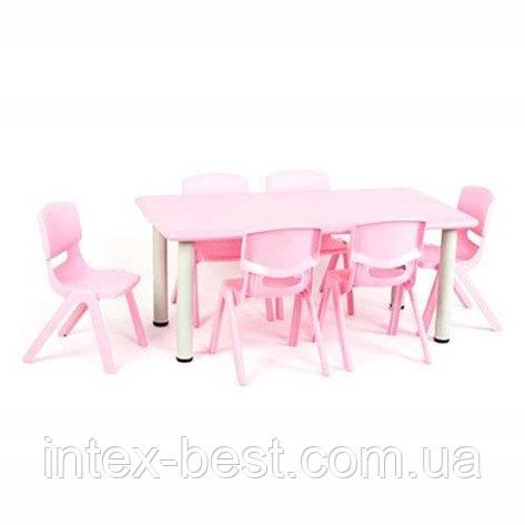 Детский столик со стульчиками TABLE1-8 регулируемая высота (розовый), фото 2