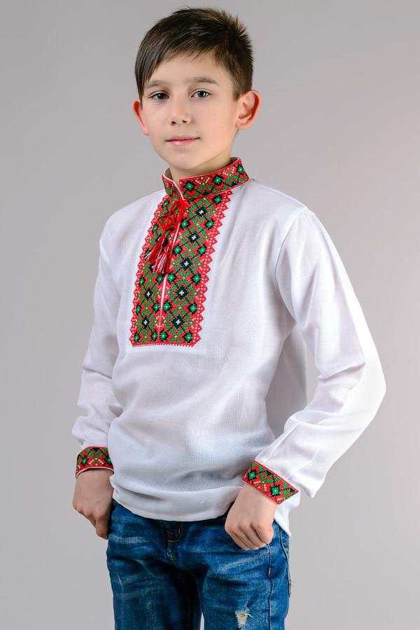 Вишиванка для хлопчика біла довгий рукав бавовна (Україна)