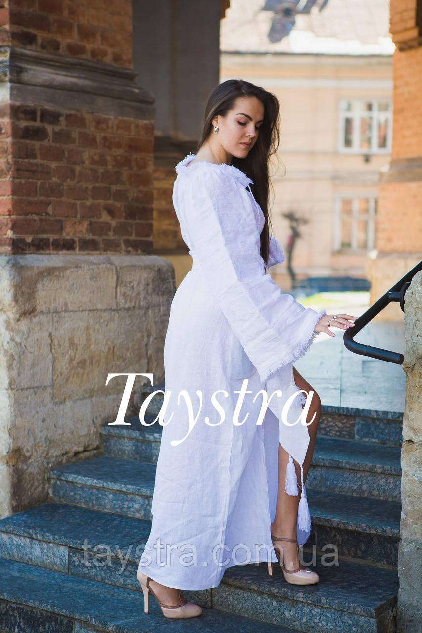 Свадебное вышитое платье женское бохо вышиванка лен ac9996236d6b9