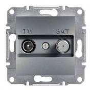 Розетка телевизионная - спутник TV-SAT проходная 8 dB, сталь, Sсhneider Asfora Шнайдер Асфора