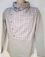 Трикотажная комбинированная рубашка в серую клеточку. Италия