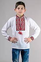 Рубашка вышиванка мальчику белая длинный рукав хлопок  (Украина)