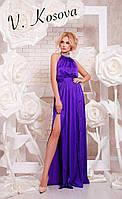 Элегантное платье в пол с открытой спинкой, горловина украшена чокером, с вырезом на ноге. Цвет фиолетовый