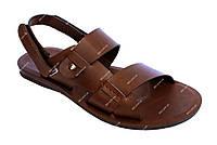 Мужские коричневые сандалии 2 в 1 PU-кожа (РУ-4к)