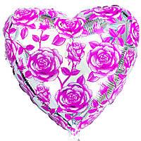 """Шар с рисунком 18"""" розы розовые с гелием"""