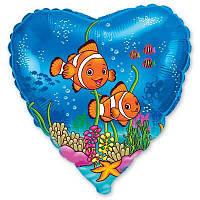 """Шар с рисунком 18"""" рыбки клоуны с гелием"""