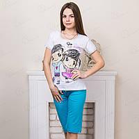 Комплект-двойка женский: футболка и бриджи с принтом Love is Pamuk Турция PMK6543