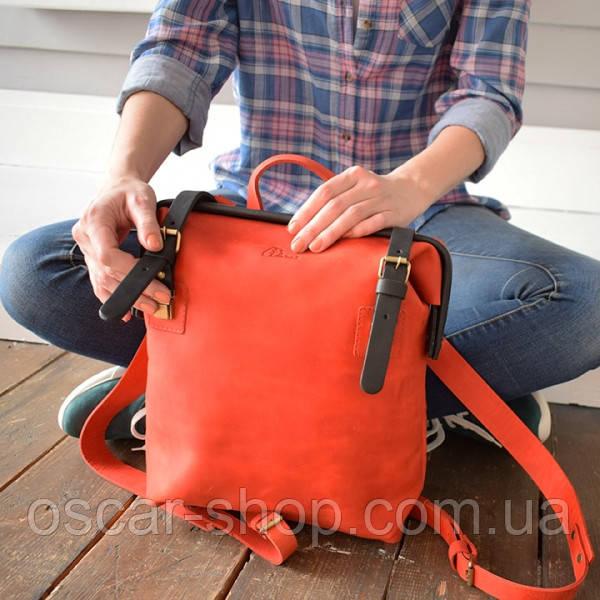 """Рюкзак из натуральной кожи """"crazy horse"""", красный с синим"""