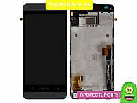 Модуль  HTC 601n One mini (дисплей + тачскрин), чёрный, с передей панелью