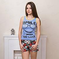 Турецкий комплект-двойка женский: майка и шорты с принтом Smile Moda Love MDLV-17258