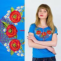 Вышиванка Украина женская Маковая фантазия голубая
