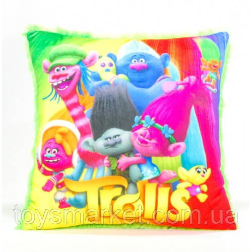Детская подушка, Тролли, зеленая