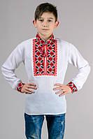 Вишиванка для хлопчика біла довгий рукав хб (Украина)