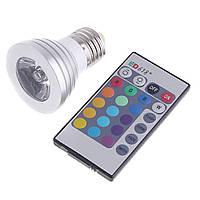 Лампа Lemanso E27 RGB 3W 210LM с пультом 85- 265V (48*65mm) / LM736