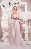 Элегантное женское платье в пол материал микромасло, пояс украшен вышивкой. Цвет бежевый