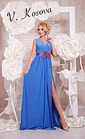 Элегантное женское платье в пол материал микромасло, пояс украшен вышивкой. Цвет синий