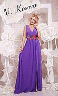Элегантное женское платье в пол материал микромасло, пояс украшен вышивкой. Цвет фиолетовый