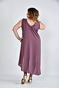 Женское летнее платье разлетайка 0515 цвет слива размер 42-74 / большого размера, фото 4