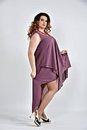 Женское летнее платье разлетайка 0515 цвет слива размер 42-74 / большого размера, фото 3