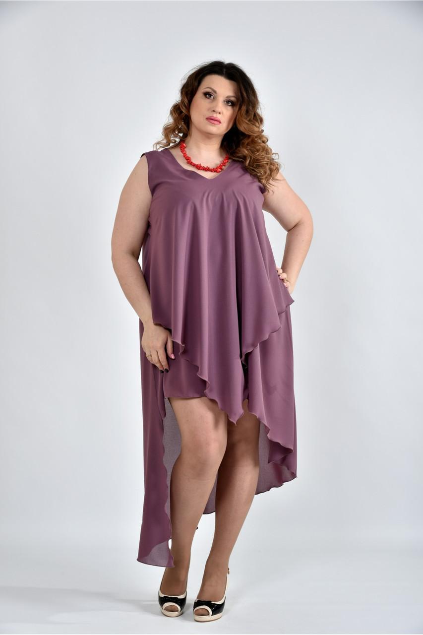 Женское летнее платье разлетайка 0515 цвет слива размер 42-74 / большого размера