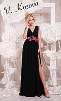 Элегантное женское платье в пол материал микромасло, пояс украшен вышивкой. Цвет черный