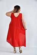 Женское летнее платье разлетайка 0515 цвет алый размер 42-74 / большого размера, фото 2