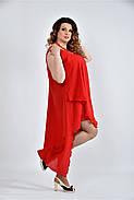 Женское летнее платье разлетайка 0515 цвет алый размер 42-74 / большого размера, фото 3