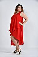 Женское летнее платье разлетайка 0515 цвет алый размер 42-74 / большого размера, фото 4