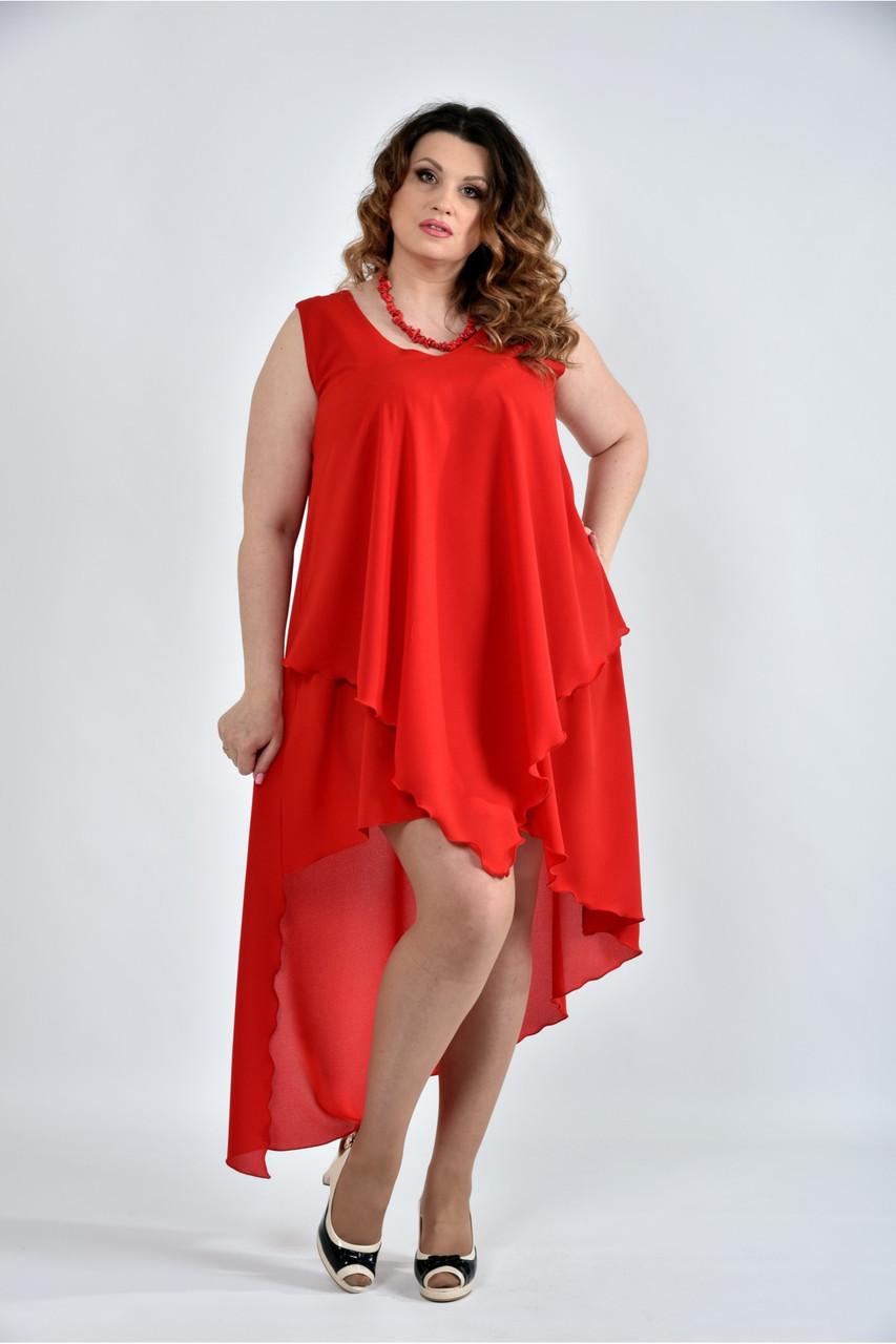 Женское летнее платье разлетайка 0515 цвет алый размер 42-74 / большого размера