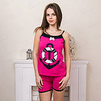Комплект-двойка женский: майка и шорты с принтом Якорь Asel Турция ASL2303 одежда для дома и сна (4 ед. в упаковке)