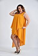 Женское летнее платье разлетайка 0515 цвет горчица размер 42-74 / большого размера, фото 3