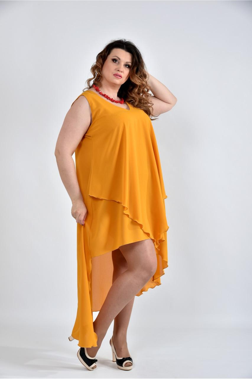 Женское летнее платье разлетайка 0515 цвет горчица размер 42-74 / большого размера