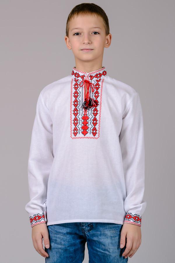 Сорочка вышиванка для мальчика белая длинный рукав хлопок  (Украина)