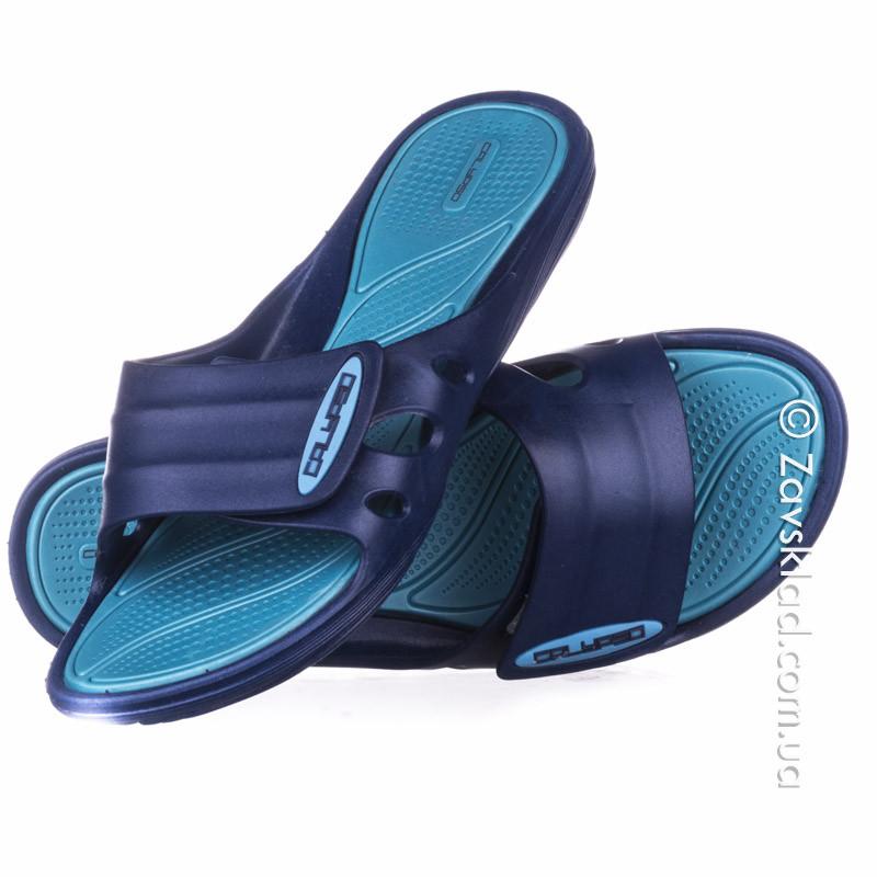 Женские сланцы на липучках синие Calypso