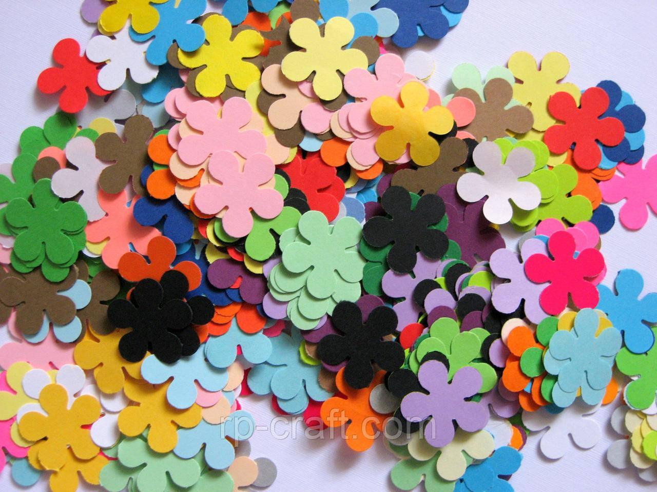Высечки из бумаги и картона. Цветок , 50 штук, 25х25 мм
