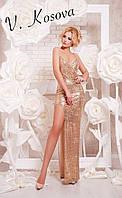 """Элегантное женское платье """"пайетка"""" на бретелях, сбоку с глубоким вырезом. Цвет золото"""