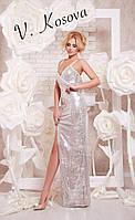 """Элегантное женское платье """"пайетка"""" на бретелях, сбоку с глубоким вырезом. Цвет серебро"""