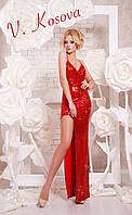 """Элегантное женское платье """"пайетка"""" на бретелях, сбоку с глубоким вырезом. Цвет красный"""