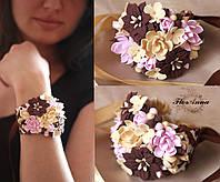 """""""Шоколадный мусс"""" браслет на руку с цветами из полимерной глины"""