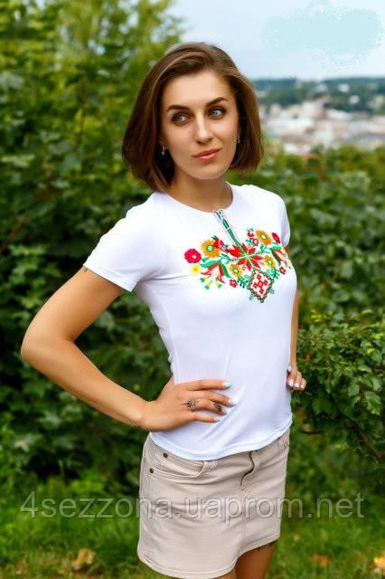 Жіноча вишиванка Лісова пісня барвиста на білому   продажа 37ab1369e6328