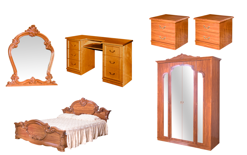 Спальня Барокко со шкафом 4Д и туалетным столиком