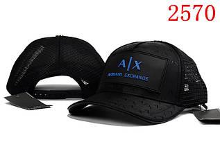 Кепка в стиле Armani Exchange черная с синим
