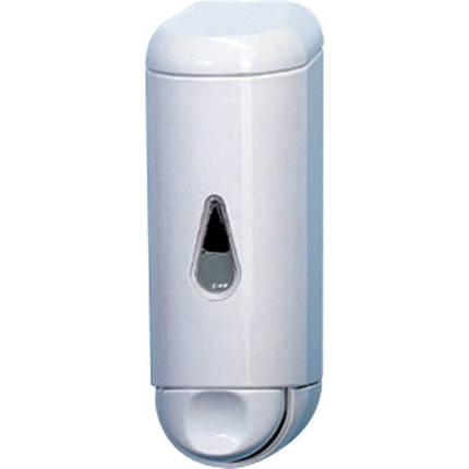 Дозатор раздатчик жидкого мыла шампуня моющего средства 170 мл с окном белый пластиковый нажимной подвесной, фото 2