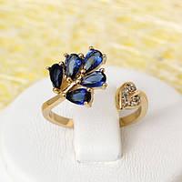 002-2462 - Позолоченное кольцо с сапфирово-синими и прозрачными фианитами,  от 16 до 16.5, от 17.5 до 18  р.