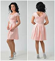 Нарядное молодежное платье миди с красивым декольте 42.44.46.48