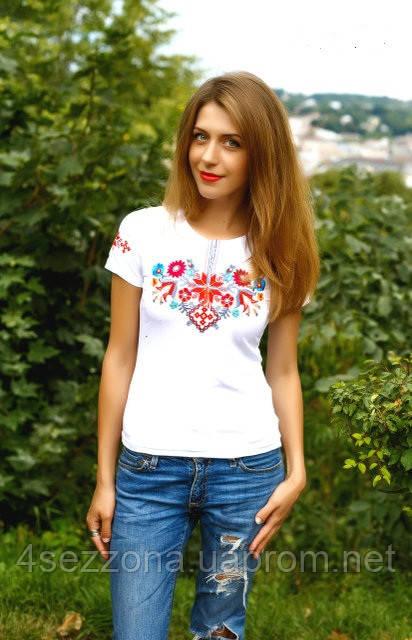 Жіноча вишиванка Лісова пісня червоно-сіра на білому - Интернет-бутик