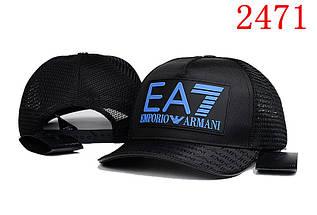 Бейсболка в стиле Armani Exchange черная с синим