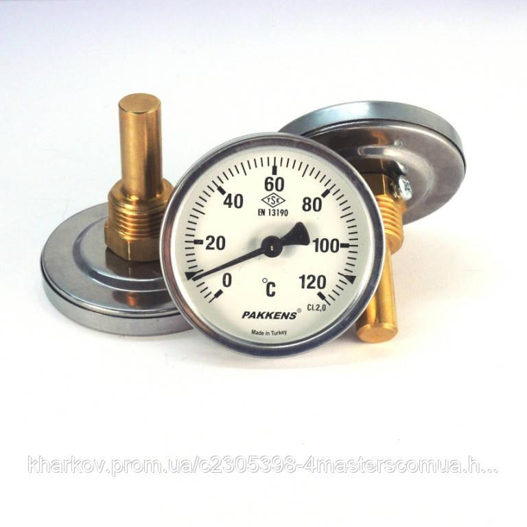 Термометр 0 120°С с погружной гильзой 5 см Ø63, Pakkens Турция